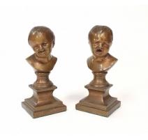 """Paire de bronzes """"Bustes d'enfants"""""""