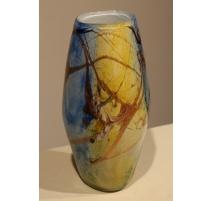 Vase en verre bleu et or signé LUZORO 1994