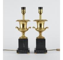 Paire de lampes vases médicis en bronze doré