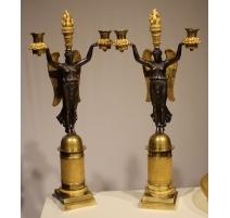 Pair of Empire bronze and ormolu candelabrum.