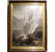 """Tableau sépia """"Lac des 4 Cantons"""" signé G. CLOSS"""