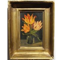 "Tableau ""Bouquet de tulipes"" signé A F 1623"