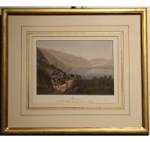 """Gravure aquarellée """"Montreux"""" par DIKENMAN"""