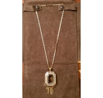 Collier Pendetf en or, quartz et diamants