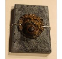 """Plaque de sonnette """"Lion"""" en marbre et bronze"""