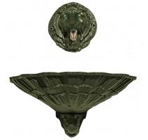 Fontaine Coquille au lion vieux bronze avec bec