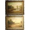 Paire de tableaux paysages signés