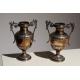Paire de vases à anses en métal argenté