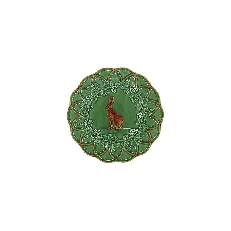 Assiette en faïence verte chasse Lièvre