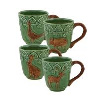 Lot de 4 Mugs décor animaux de chasse