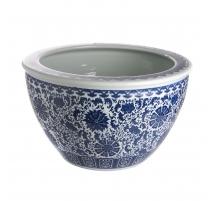 Cache-pot bleu blanc décor de Lotus