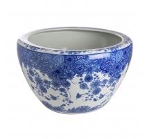 Cache-pot bleu blanc décor de Papillons