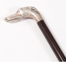 Canne poignée Lévrier en métal argenté