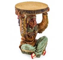 """Guéridon """"Indien assis portant un rondin de bois"""""""