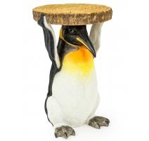 """Guéridon """"Pingouin portant un rondin de bois"""""""
