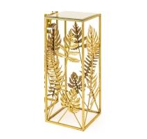 Sellette carré Feuilles dorées plateau miroir