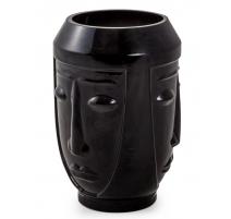 Vase Visages en verre noir