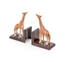 """Paire de serre-livres """"Girafes"""" en fonte"""