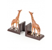 """Paire de serre-livres """"Giraffes"""" en fonte"""