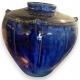 Vase boule, coloris bleu.