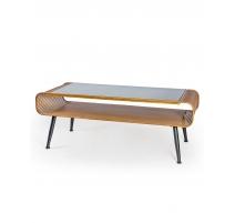 Table basse rétro avec plateau en verre