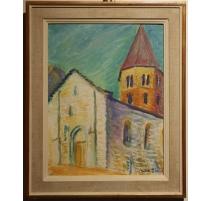 """Tableau """"St Pierre de Clages"""" signé DISERENS"""