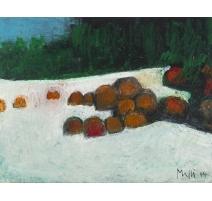 """Tableau """"Troncs dans la neige"""" signé MAFLI 14"""