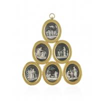 Cadre contenant 6 miniatures d'après SAUVAGE