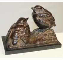 Couple de moineaux en bronze signé VALLETTE
