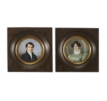"""Paire de miniatures """"Monsieur et Madame Anspach"""""""