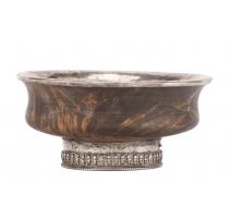 Bol tibétain en bois et argent.