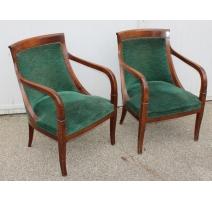 Paire de fauteuils Gondole recouverts de velours