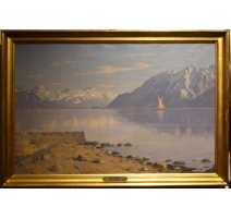 """Tableau """"Lac Léman"""" signé A. DUPLAIN"""