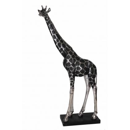 Grande Girafe en résine argentée et noire