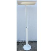 Lampe double sur pied en fonte blanche