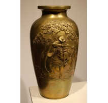 """Vase en bronze """"Samouraï monté à l'arc"""""""