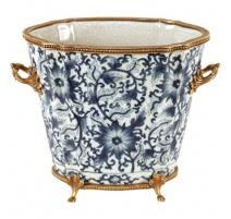 Cache-pot ovale en porcelaine bleu-blanc