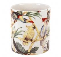 Cache-pot rond en porcelaine perroquets