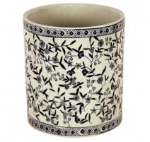 Cache-pot rond en porcelaine bleu-blanc à fleurs