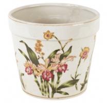 Cache-pot rond en porcelaine orchidées