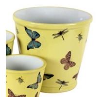 Cache-pot rond en porcelaine papillons - Grand