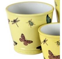 Cache-pot rond en porcelaine papillons - Moyen