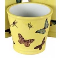 Cache-pot rond en porcelaine papillons - Petit