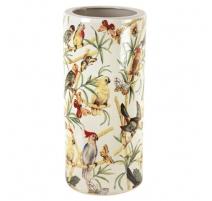 Porte-parapluies en porcelaine décor perroquet