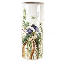 Porte-parapluies en porcelaine décor oiseaux jungl