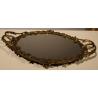 "Plateau ovale en bronze ""Lierre"" avec miroir"