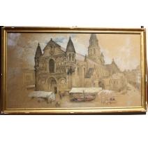 """Pastel """"Notre-Dame de Poitiers"""" signé E. FOREL"""