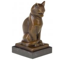 Bronze Chat assis, socle en marbre
