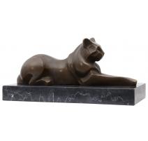 Bronze Chat couché, socle en marbre