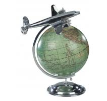 Globe avec avion en aluminium